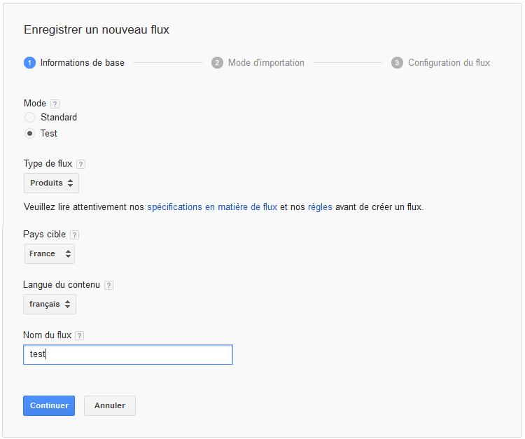 paramétrer un flux de données google shopping