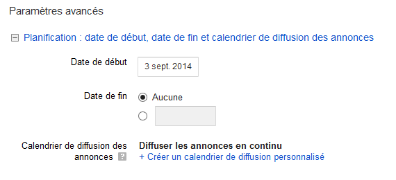 planifier campagne adwords