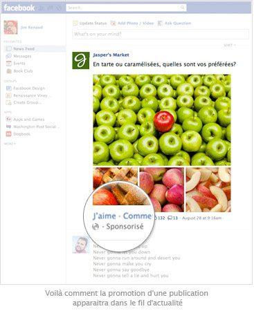 post sponsorisé mur facebook