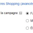 priorité de la campagne shopping