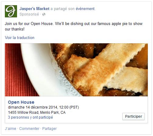 publicité événement facebook
