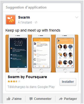publicité facebook application mobile