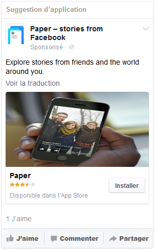 publicité facebook application mobile
