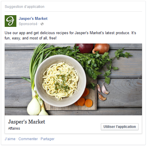 publicité facebook application