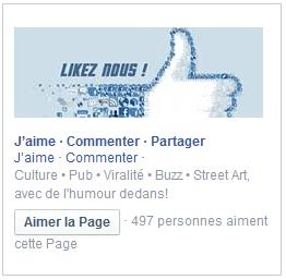 publicite page like facebook colonne droite