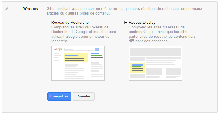 reseau de recherche et reseau display google