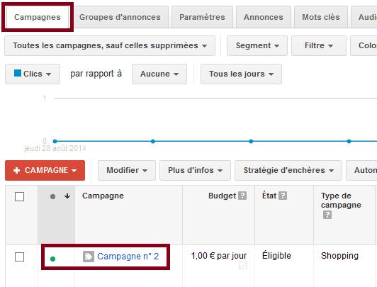 sélectionner votre campagne adwords