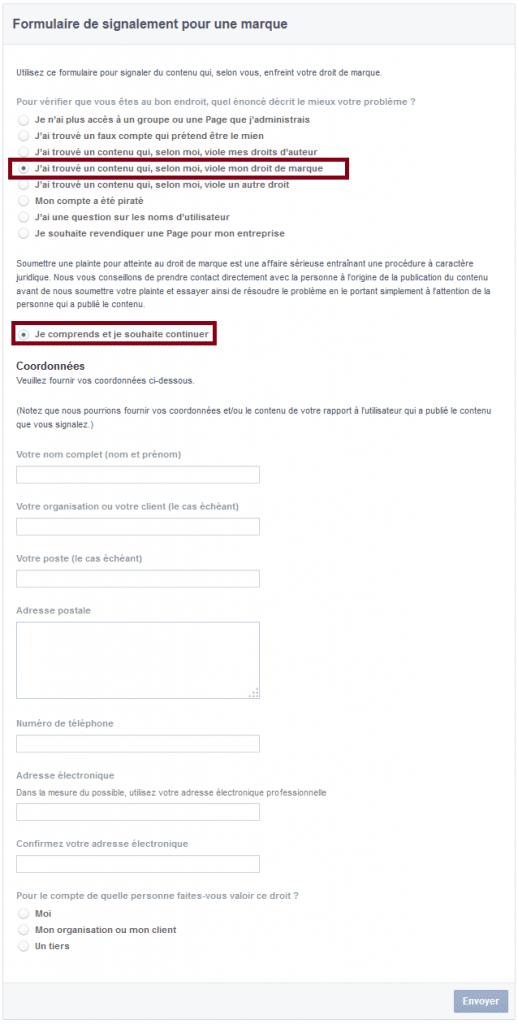 signaler page facebook
