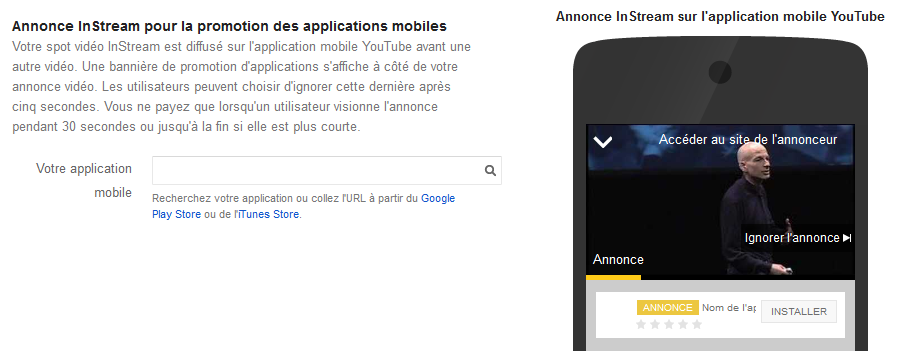 annonce instream promotion des applications mobiles