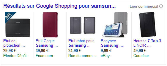 campagne shopping google adwords