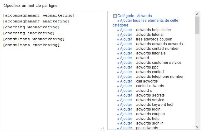 choisir mot-clé google adwords
