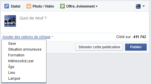 cibler publications facebook