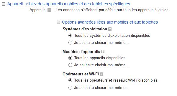 cibler téléphones mobiles sur google