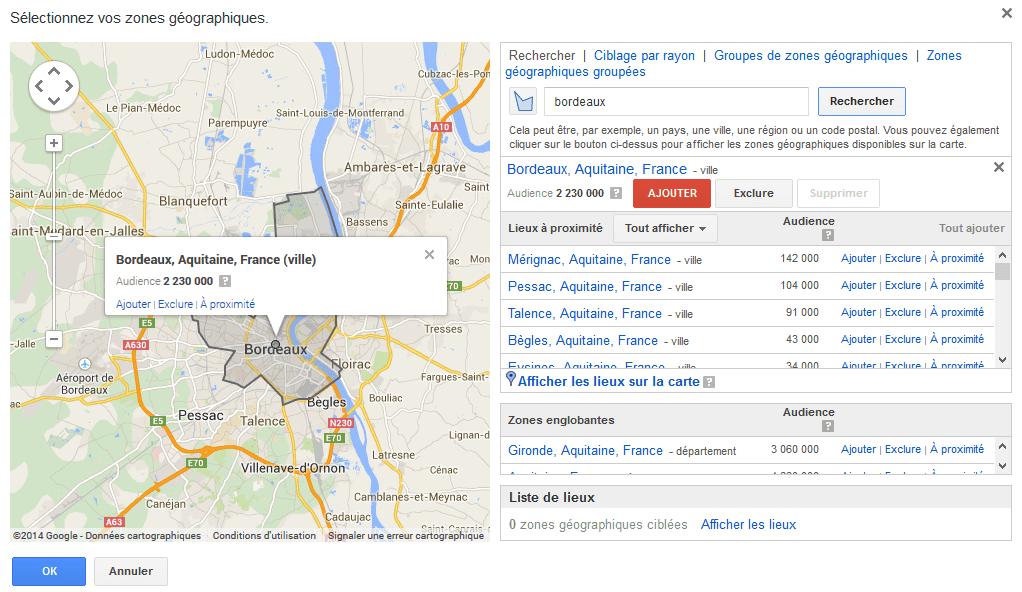 cibler une ville sur google