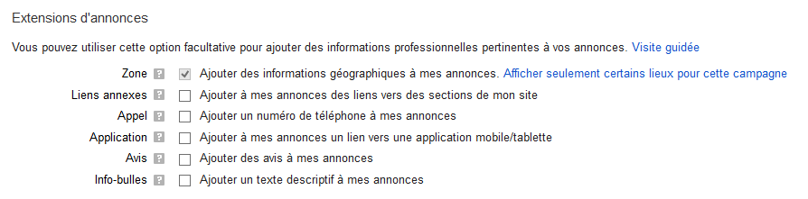 extensions annonce google adwords