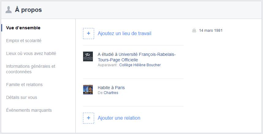 remplir son profil facebook