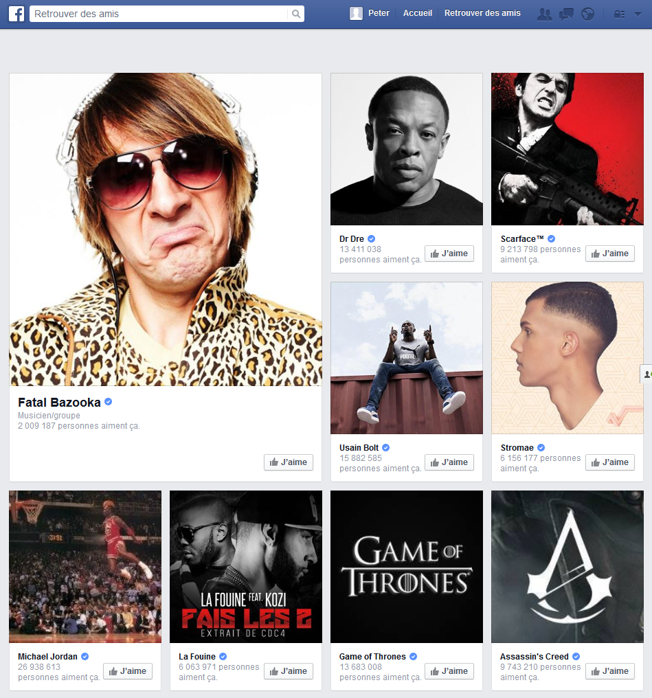 suggestions pages facebook