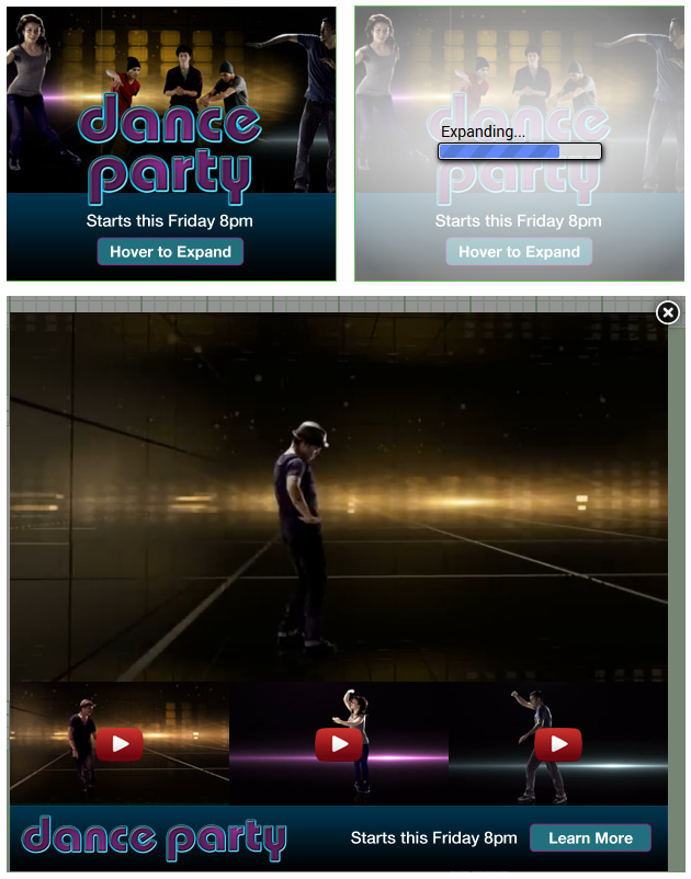 trois vidéos mode lightbox