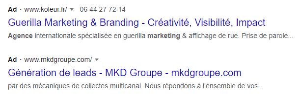 annonce texte google ads