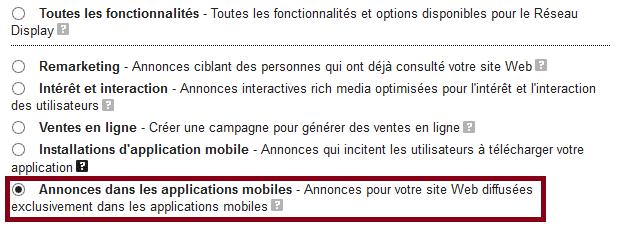 annonces dans les applications mobiles