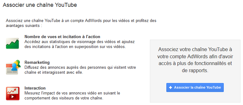 associer chaine youtube