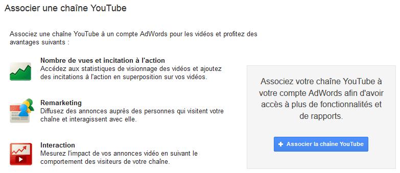 associer chaine youtube