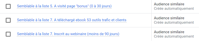audience similaire google