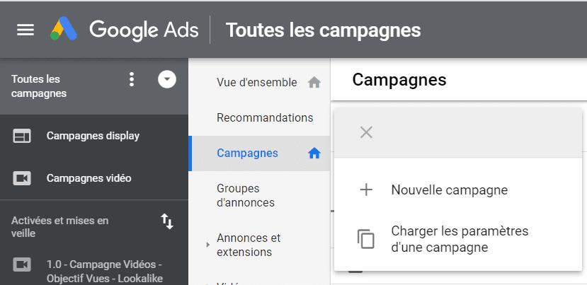 création campagne google ads