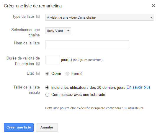créer liste de remarketing sur youtube