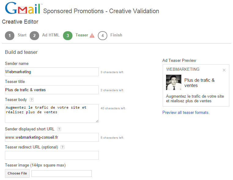 creer promotion sponsorisee gmail
