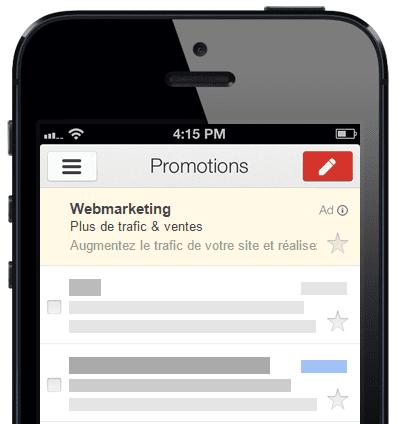 promotions sponsorisees gmail sur mobile