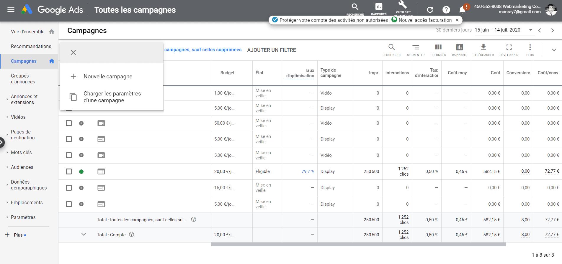 gestionnaire publicité google