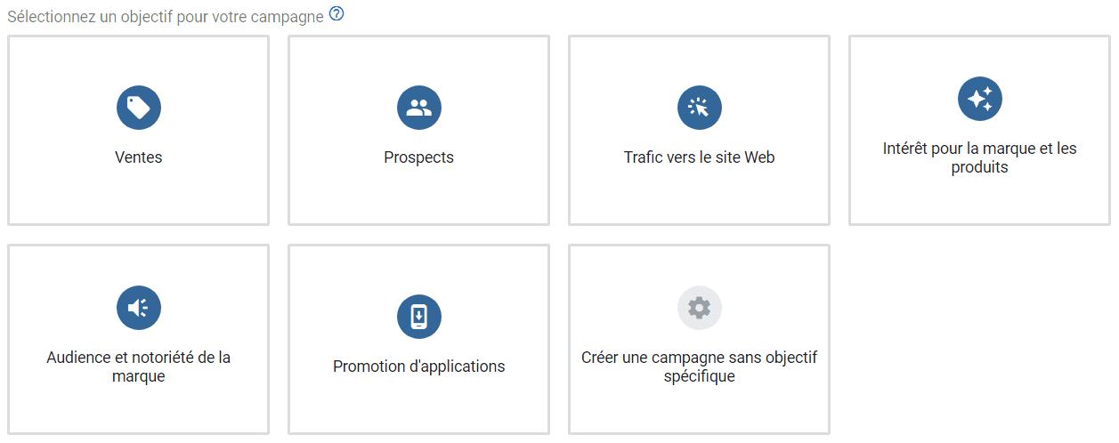 objectifs campagnes google
