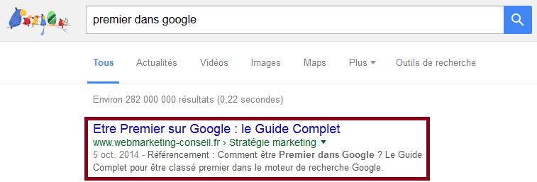 premier dans google