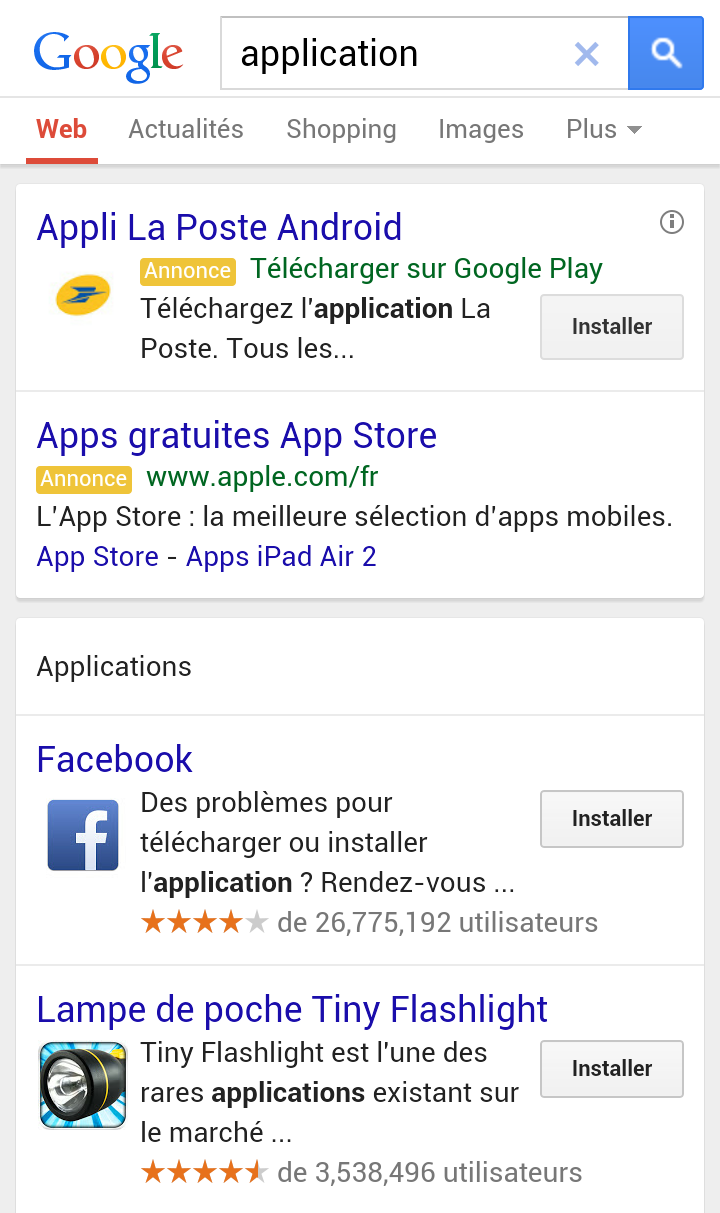 publicité application mobile