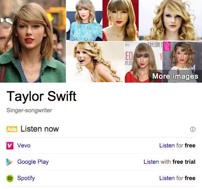 publicité écouter de la musique en streaming google adwords