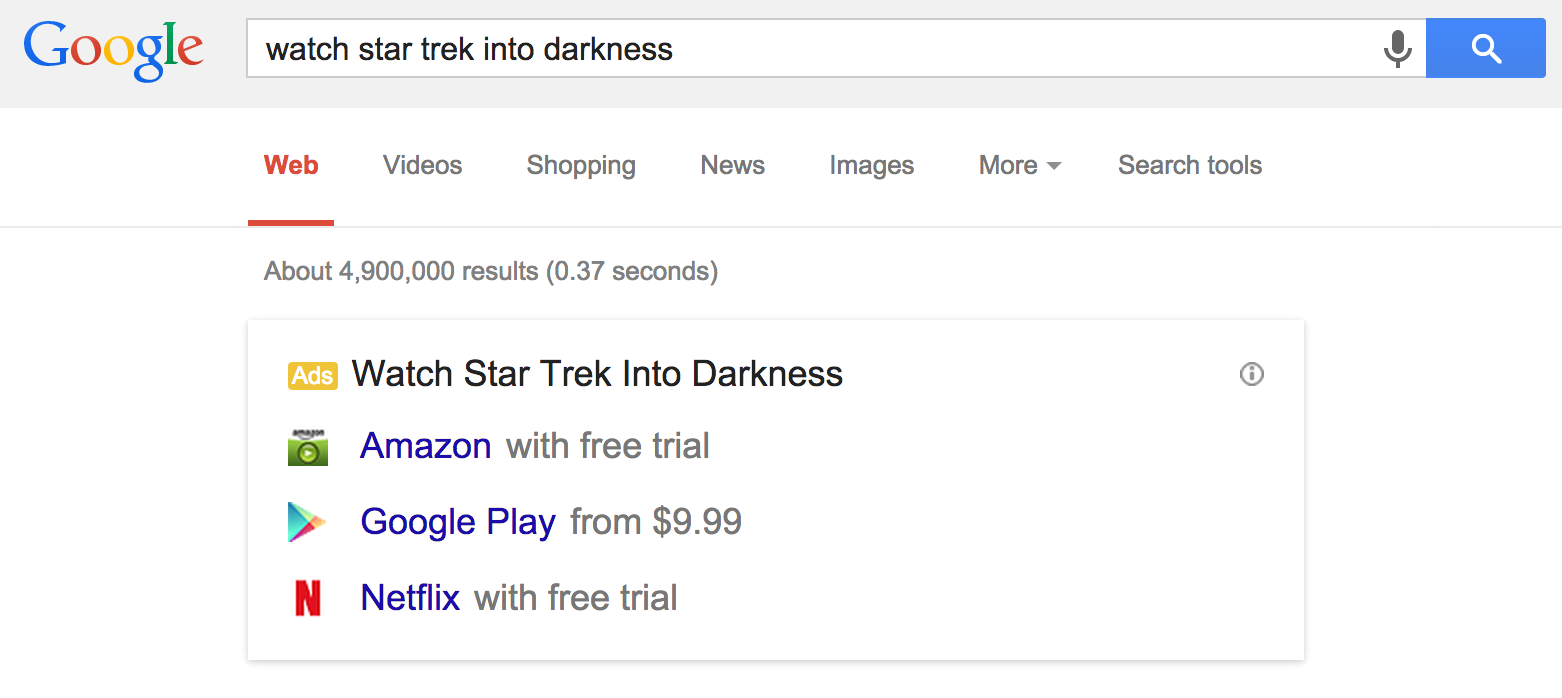 publicité regarder film streaming google adwords