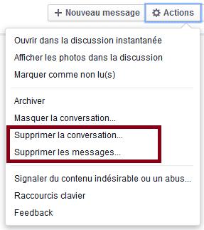 supprimer email facebook
