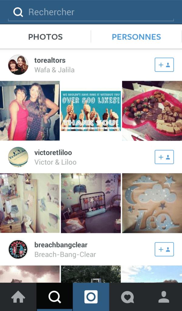 recherche personnes instagram