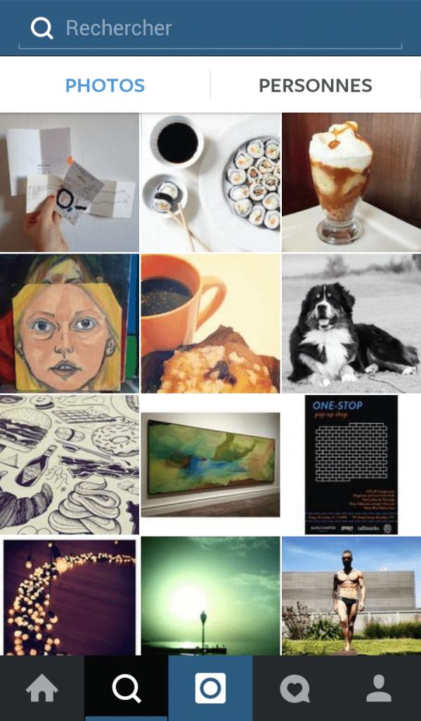 recherche photo instagram