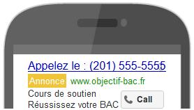 annonce appel uniquement google adwords
