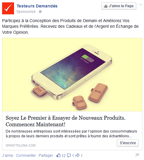 bouton call-to-action facebook