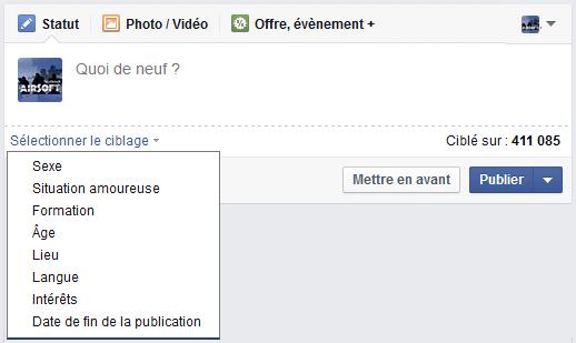 ciblage posts facebook