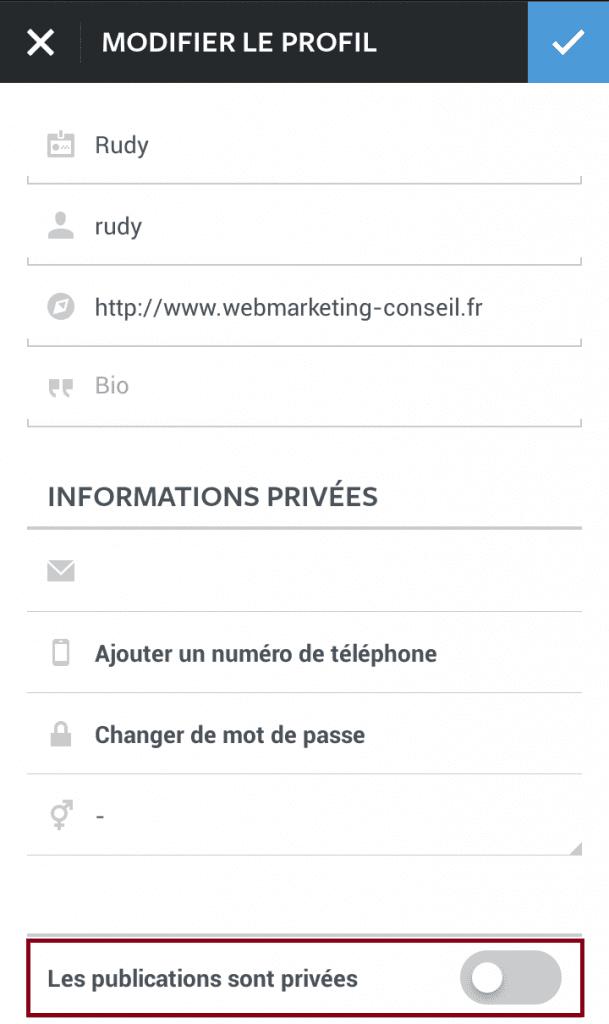 publications privées instagram