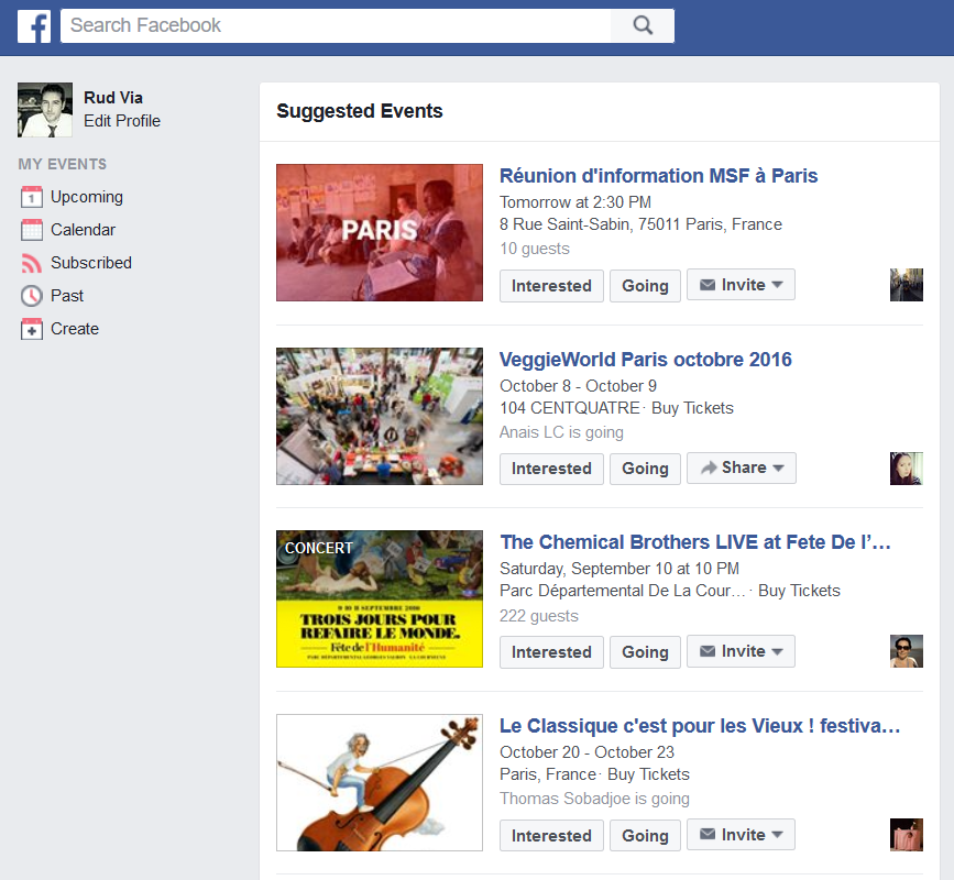 evenements facebook