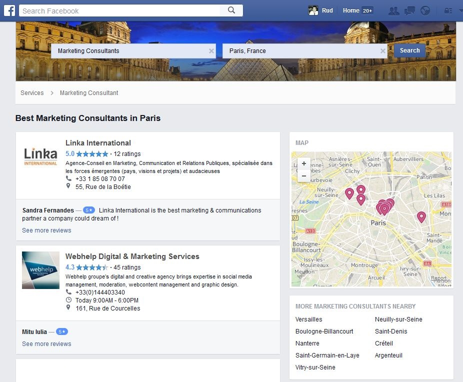 facebook services professionnels