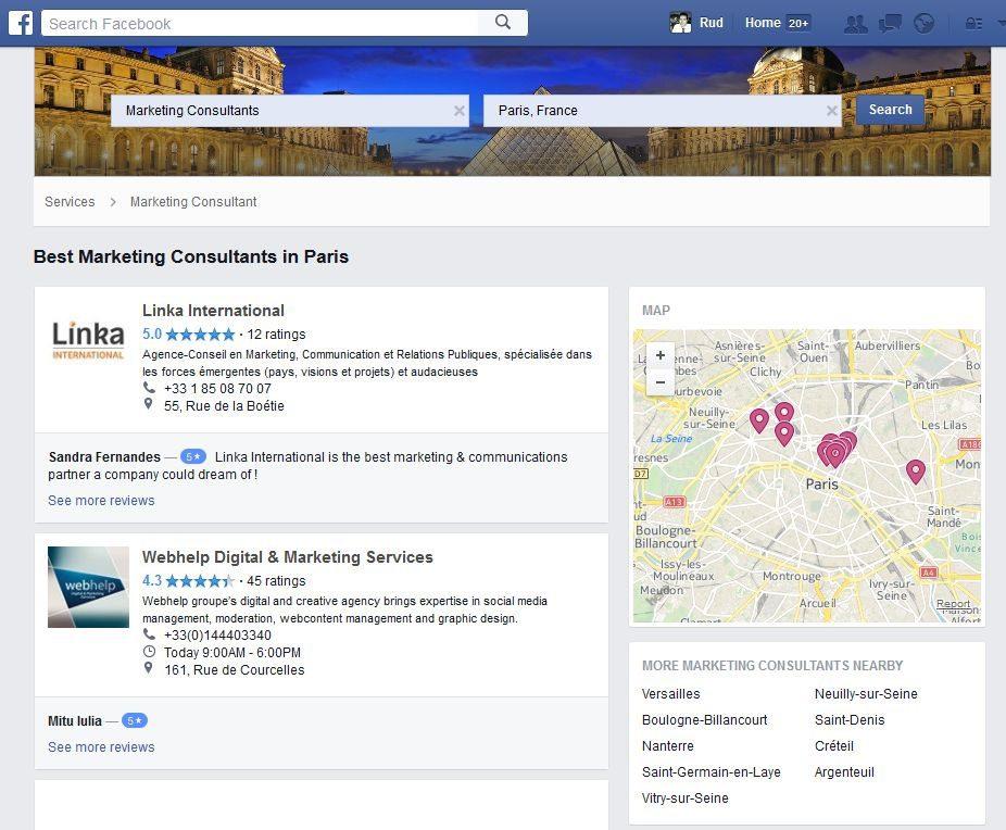 facebook services professionnels