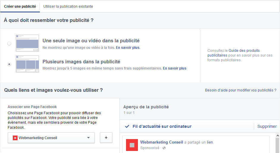 annonce caroussel facebook