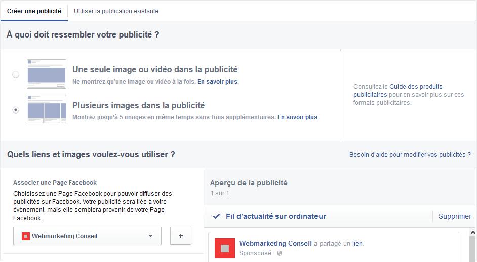 annonce caroussel facebook