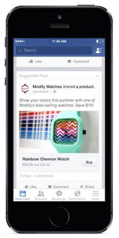 bouton acheter facebook sur mobile